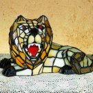 """Stained Glass  7""""H Tiffany Lion Accent Lamp"""