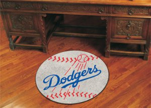 "MLB-Los Angeles Dodgers 29"" Round Baseball Rug"