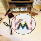"MLB-Miami Marlins 29"" Round Baseball Rug"
