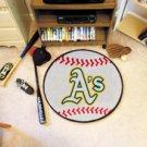 "MLB-Oakland Athletics A's 29"" Round Baseball Rug"