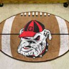 "University of Georgia Bulldog Logo 22""x35"" Football Shape Area Rug"