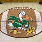 "University of Miami Sebastian the Ibis 22""x35"" Football Shape Area Rug"