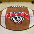 "University of Wisconsin Badger Logo 22""x35"" Football Shape Area Rug"