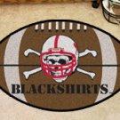 "University of Nebraska Black Shirts 22""x35"" Football Shape Area Rug"