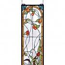 """Meyda 9""""W X 25""""H Cat & Tulips Stained Glass Window Panel"""
