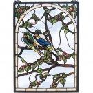 """Meyda 14""""W X 20""""H Lovebirds Stained Glass Window Panel"""