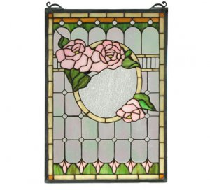 "Meyda 14""W X 20""H Pink Morgan Rose Stained Glass Window Panel"