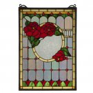 "Meyda 14""W X 20""H Red Morgan Rose Stained Glass Window Panel"