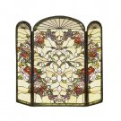 Meyda Tiffany Style Hand Cut Stained Glass Heart Fireplace Screen