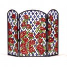 Meyda Tiffany Style Hand Cut Stained Glass Roses Trellis Fireplace Screen