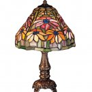 """Meyda 13"""" Stained Glass Poinsettia Mini Accent Lamp"""
