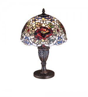 """Meyda Stained Glass 18""""H Renaissance Rose Table Lamp"""