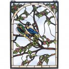 Meyda Tiffany Stained Art Glass Lovebirds Window Panel