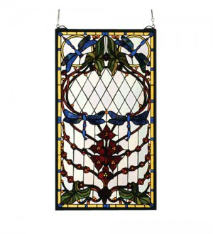 Meyda Tiffany Stained Art Glass Dragonfly Allure Hanging Window Panel