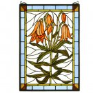 Meyda Tiffany Stained Art Glass Trumpet Lily Hanging Window Panel