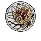 Meyda Tiffany Stained Art Glass Pinecone Medallion Hanging Window Panel