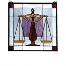 Meyda Tiffany Stained Art Glass Judicial Justice for all Hanging Window Panel