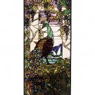 Meyda Tiffany Stained Art Glass Peacock Hanging Window Panel