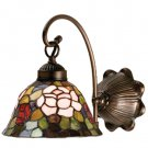 "Meyda Tiffany Stained Art Glass Rosebush 8"" Wall Sconce"