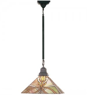 "Meyda Hand Crafted stained art glass Glasgow Bungalow Pendant Ceiling Light Fixture 36""l"