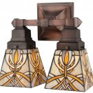 "Meyda Tiffany Stained Art Glass Glasgow Bungalow 2 light 12"" Wall Sconce"
