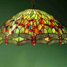"Meyda Hand Crafted stained art glass 22"" Hanginghead Dragonfly Pendant Ceiling Light Fixture"
