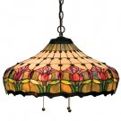 "Meyda Tiffany 20"" Stained Art Glass Colonial Tulip Pendant Ceiling Light Fixture"