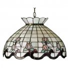 "Meyda Tiffany 20"" Stained Art Glass Roseborder Pendant Ceiling Light Fixture"