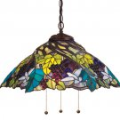 "Meyda Tiffany 21"" Stained Art Glass Spiral Grape Pendant Ceiling Light Fixture"