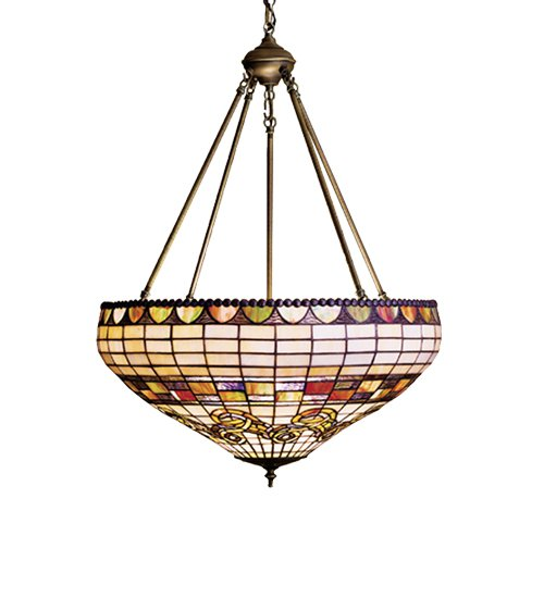 tiffany 23 stained art glass edwardian inverted ceiling light fixture. Black Bedroom Furniture Sets. Home Design Ideas