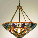 """Meyda Tiffany 24"""" Stained Art Glass Jeweled Grape Inverted Ceiling Light Fixture"""