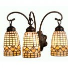 Meyda Tiffany Stained Art Glass Ivory Autumn Acorn 3 Light Vanity