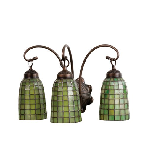 Meyda Tiffany Stained Art Glass Green Geometric 3 Light Vanity