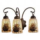Meyda Tiffany Stained Art Glass Pine Barons Pinecone 3 Light Vanity