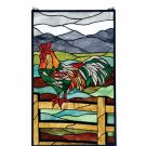 Meyda Tiffany Stained Art Glass Hanging Sunrise Rooster Window Panel