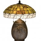 """Meyda Stained Glass 19.5"""" Tiffany Pine Needle Accent Table Desk Lamp"""