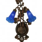 Meyda Tiffany Stained Art Glass Blue Pond Lily 2 Shade Light Wall Sconce