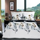 Full Queen White blue/grey brown Hanna Floral Egyptian Cotton 3pc Duvet Cover Se