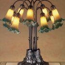 Meyda Tiffany Stained Art Glass Amber/Green Pond Lily 10 Shade Light Table Lamp