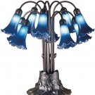 Meyda Tiffany Stained Art Glass Blue Pond Lily 10 Shade Light Table Lamp