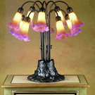 Meyda Tiffany Stained Art Glass Amber/purple Pond Lily 10 Shade Light Table Lamp
