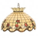 "Meyda Tiffany 20"" Stained Art Glass Roseborder Pendant Ceiling Light Fixture 19137"