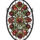 """Meyda Tiffany Stained Art Glass 11""""W X 17""""H Oval Rose Garden window panel"""