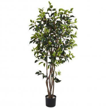5333 Nearly Natural Artificial Potted 5' Bushy Ficus Tree Silk Plant Floral Home Office Decor