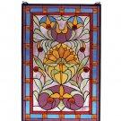 Meyda Tiffany Stained Art Glass 20x30 Plum Deco Floral Picadilly window panel