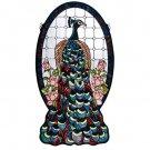Meyda Tiffany Stained Art Glass Peacock Profile window panel