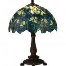 "Meyda Tiffany Stained Glass 17""H Nightfall Wisteria Mini Accent Table Lamp"