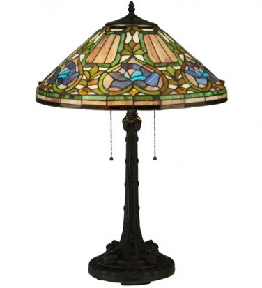 """Meyda Tiffany Stained Glass 26.5""""H  Floral  nuoveau style Accent Table Lamp"""