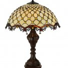 """Meyda Tiffany Stained Glass 24""""H Diamond & Jewel  Accent Table Lamp"""