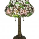 """Meyda Tiffany Stained Glass  22.5""""H Dragonfly Flower Accent Table Lamp"""